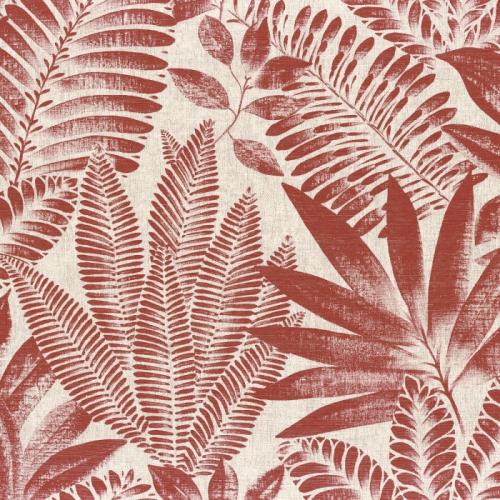 Papel pintado de estilo hojas en color rojo Aloes 75183682