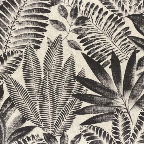 Papel pintado de estilo hojas en negro Aloes 75183886