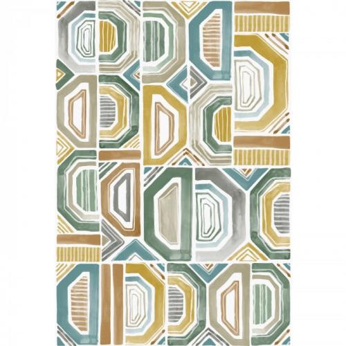 Mural de papel pintado de estilo abstracto en tonos azules y verdes Bogolan 75193988