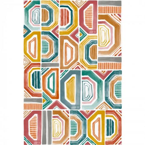 Mural de papel pintado de estilo abstracto en multicolor Bogolan 75194090