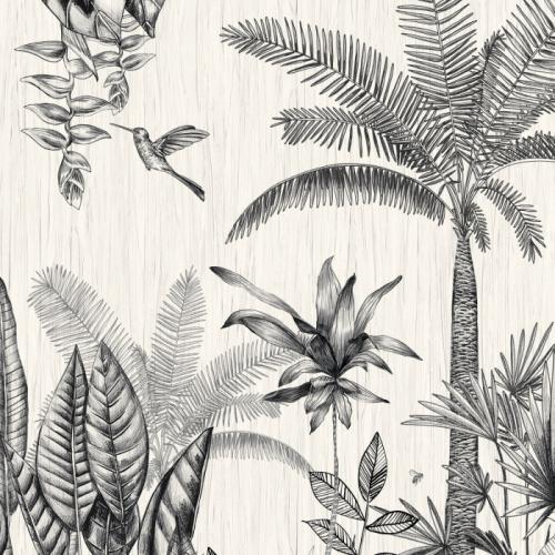 Mural de papel pintado estilo tropical palmeras y otras plantas tropicales en colores negro y gris sobre un fondo blanco Ipanema 74290180