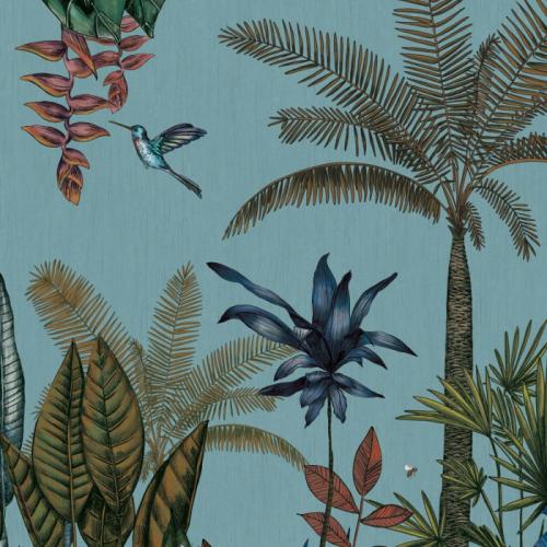 Mural de papel pintado estilo tropical palmeras y otras plantas tropicales en multicolor sobre un fondo azul claro Ipanema 74290282