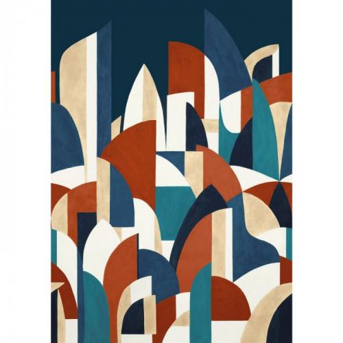 Mural de papel pintado estilo abstracto formas y figuras geométricas en colores azul marino y rojo Pablo 74880406
