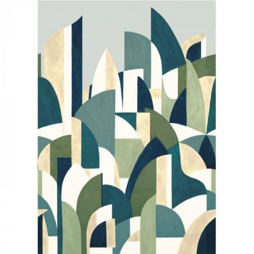 Mural de papel pintado estilo abstracto formas y figuras geométricas en colores verde y azul Pablo 74880610