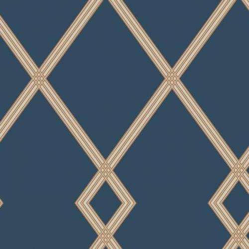 Papel pintado estilo geométrico-trellis rayas en beige sobre fondo azul oscuro Ribbon Stripe Trellis CY1506