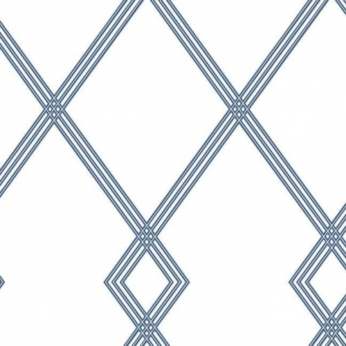 Papel pintado estilo geométrico-trellis rayas en azul sobre fondo blanco Ribbon Stripe Trellis CY1507