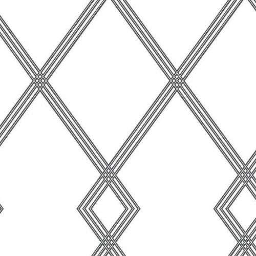 Papel pintado estilo geométrico-trellis rayas en negro sobre fondo blanco Ribbon Stripe Trellis CY1509