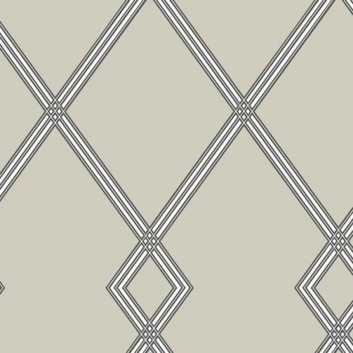 Papel pintado estilo geométrico-trellis rayas en negro sobre fondo beige oscuro Ribbon Stripe Trellis CY1510