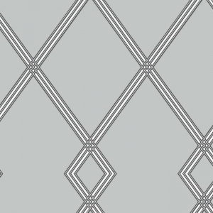 Papel pintado estilo geométrico-trellis rayas en negro sobre fondo gris Ribbon Stripe Trellis CY1511