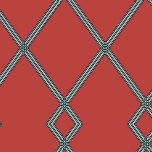 Papel pintado estilo geométrico-trellis rayas en gris sobre fondo rojo Ribbon Stripe Trellis CY1512