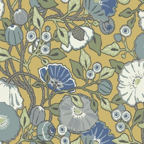 Papel pintado de estilo floral estampado con fondo amarillo Vincent Poppies CY1514