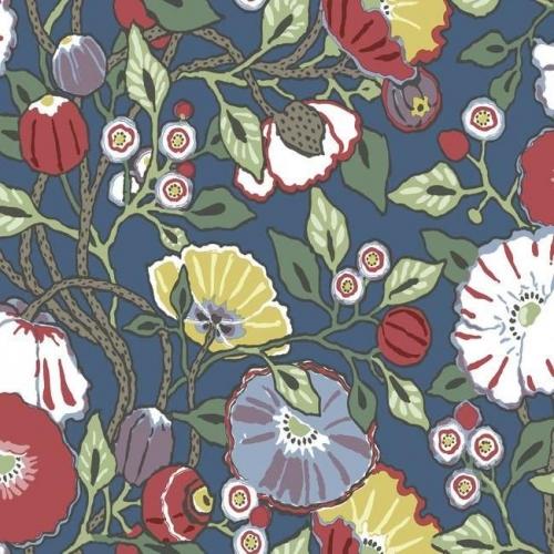 Papel pintado de estilo floral estampado multicolor con fondo azul Vincent Poppies CY1515