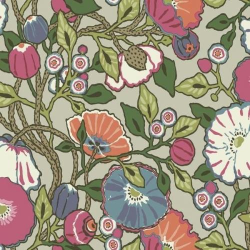 Papel pintado de estilo floral estampado con fondo beige Vincent Poppies CY1516