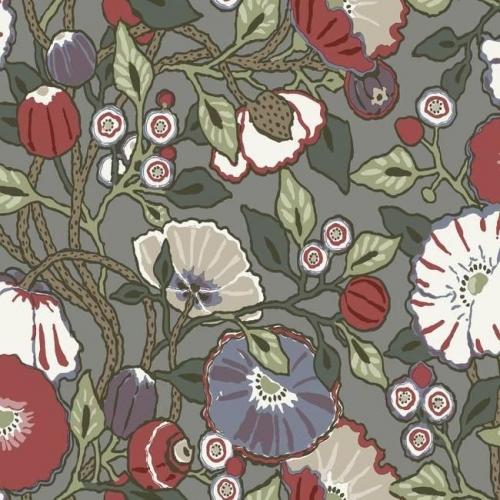 Papel pintado de estilo floral estampado multicolor con fondo gris Vincent Poppies CY1518