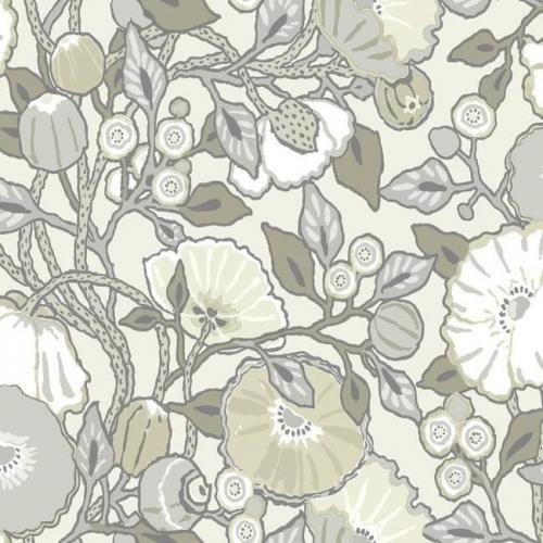 Papel pintado de estilo floral estampado gris y verde fondo marfil Vincent Poppies CY1519