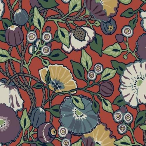Papel pintado de estilo floral estampado con fondo rojo Vincent Poppies CY1520