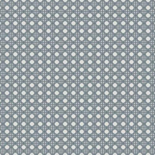 Papel pintado estilo dibujo pequeño color gris azulado Rattan Overlay Lattice CY1524