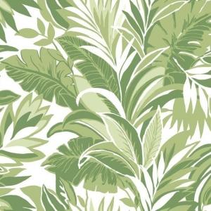 Papel pintado estilo tropical con tonos verdes sobre fondo blanco Palm Silhouette CY1565