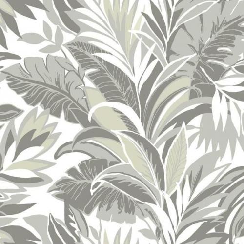 Papel pintado estilo tropical gris y verde sobre fondo blanco Palm Silhouette CY1566