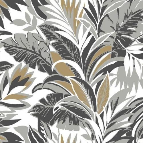 Papel pintado estilo tropical en gris, negro y dorado sobre fondo blanco Palm Silhouette CY1567