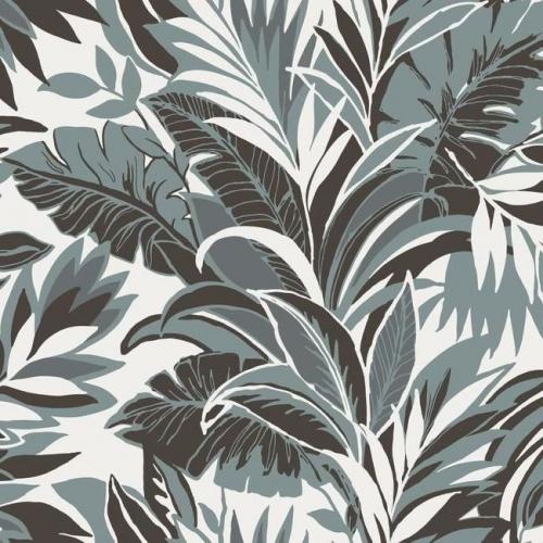 Papel pintado estilo tropical en azul y marrón oscuro sobre fondo blanco Palm Silhouette CY1569