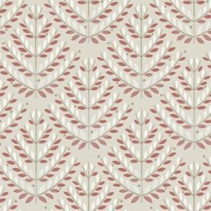 Papel pintado estilo hojas de color rojo y blanco en fondo beige Norrland NR1594