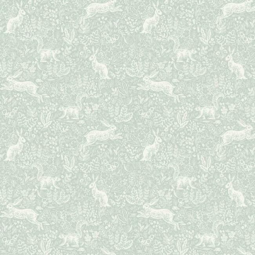 Papel pintado estilo animales en blanco sobre fondo verde claro Fable RI5101