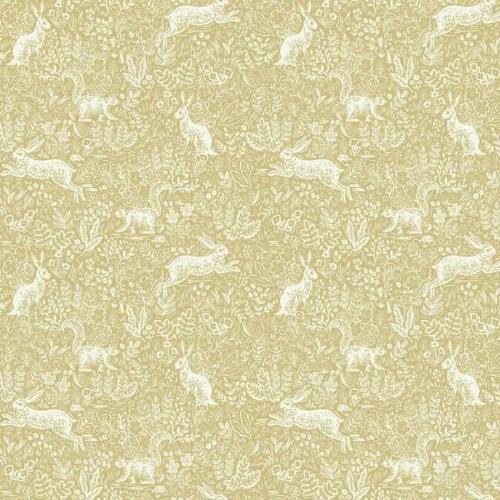 Papel pintado estilo animales en blanco sobre fondo dorado metálico Fable RI5103