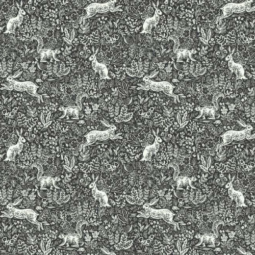 Papel pintado estilo animales en blanco sobre fondo negro Fable RI5105