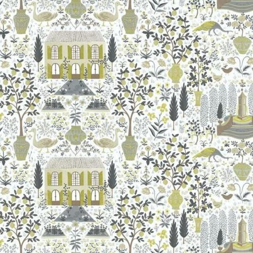 Papel pintado estilo arquitectura y ciudades en tonos marrones y beige sobre fondo blanco Camont RI5107