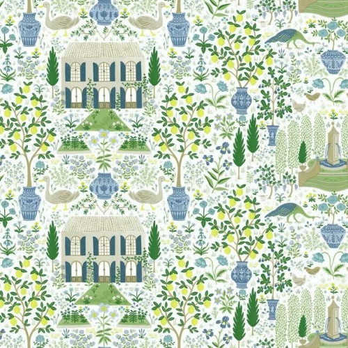 Papel pintado estilo arquitectura y ciudades en tonos verdes y azules sobre fondo blanco Camont RI5109