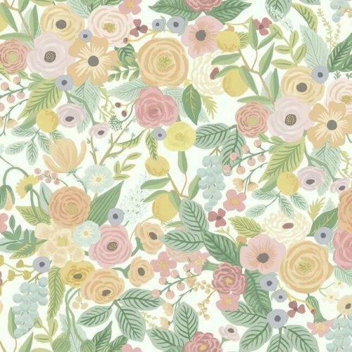 Papel pintado de estilo estampado floral multicolor sobre fondo blanco Garden Party RI5118