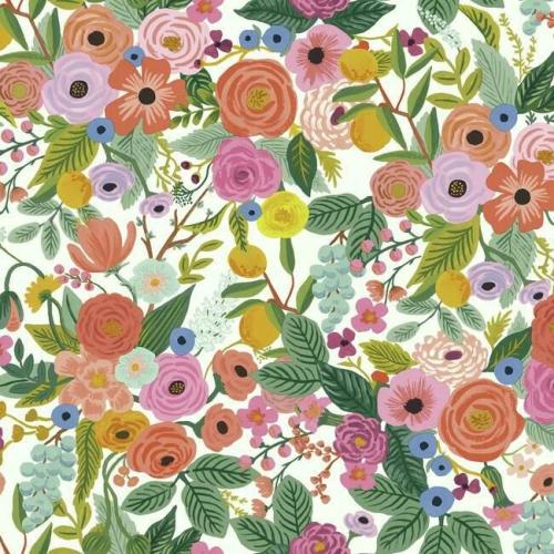Papel pintado de estilo estampado floral multicolor sobre fondo blanco Garden Party RI5119