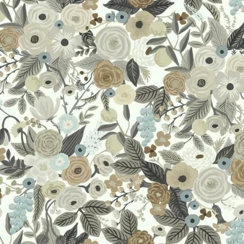 Papel pintado de estilo estampado floral en colores marrones y beige sobre fondo blanco Garden Party RI5121