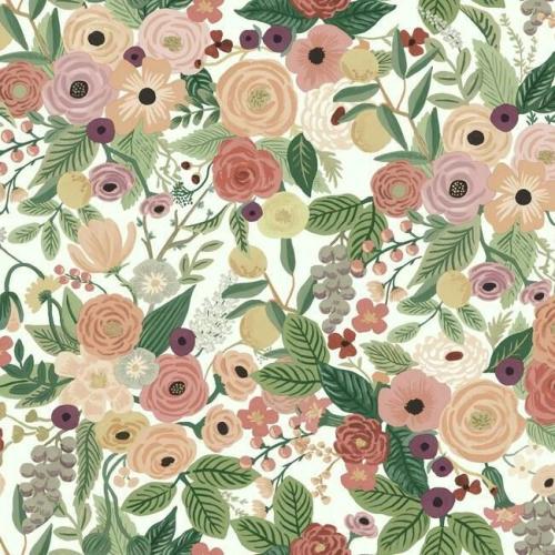 Papel pintado de estilo estampado floral multicolor sobre fondo blanco Garden Party  RI5122