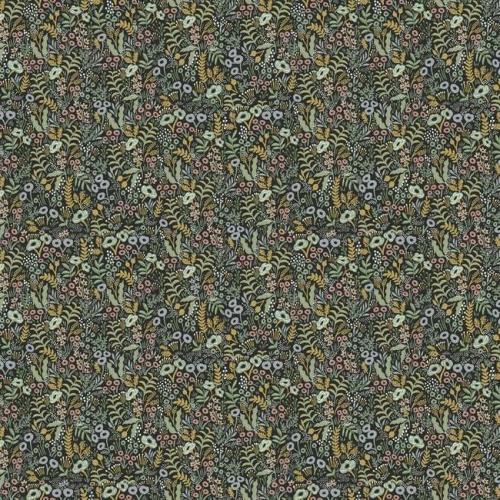 Papel pintado estilo estampado floral multicolor sobre fondo negro Tapestry RI5124