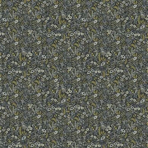 Papel pintado estilo estampado floral en tonos marrones y beige sobre fondo negro Tapestry RI5125