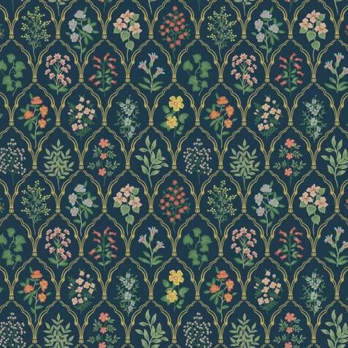 Papel pintado de estilo estampado floral multicolor sobre fondo azul Hawthorne RI5129