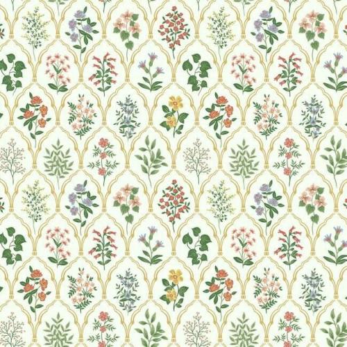 Papel pintado de estilo estampado floral multicolor sobre fondo crema Hawthorne RI5130