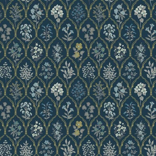 Papel pintado de estilo estampado floral en tonos de azul sobre fondo azul oscuro Hawthorne RI5131