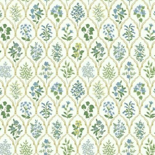 Papel pintado de estilo estampado floral en tonos verdes y azules sobre fondo blanco Hawthorne RI5132