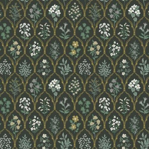 Papel pintado de estilo estampado floral en tonos verdes sobre fondo negro Hawthorne RI5133