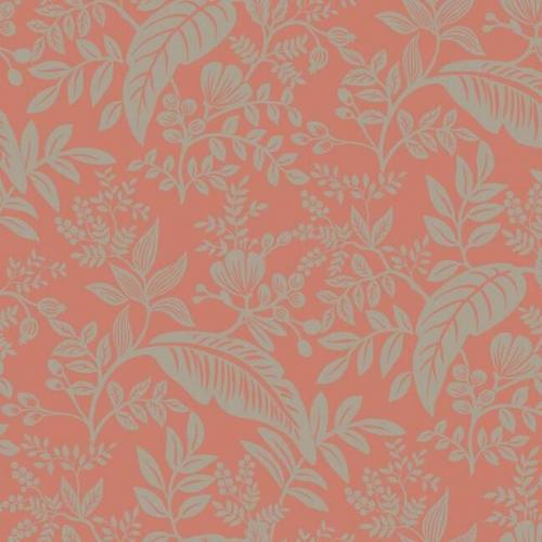 Papel pintado estilo hojas en color dorado metálico sobre fondo rosa Canopy RI5135