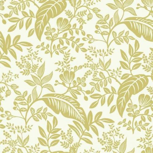 Papel pintado estilo hojas en color dorado metálico sobre fondo blanco Canopy RI5138