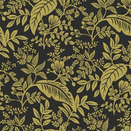 Papel pintado estilo hojas en color dorado metálico sobre fondo negro Canopy RI5139