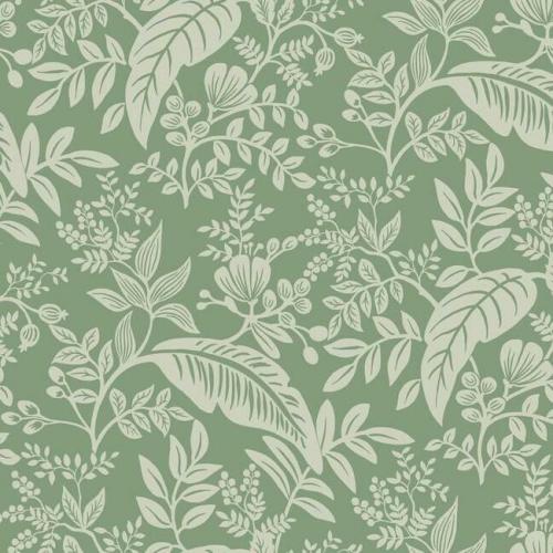 Papel pintado estilo hojas en verde color claro sobre fondo verde oscuro Canopy RI5140