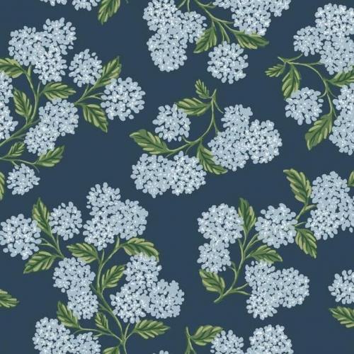 Papel pintado estilo flores en color azul suave sobre fondo azul Hydrangea RI5142