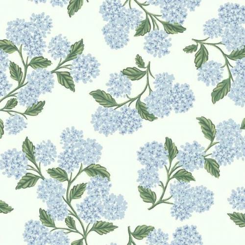 Papel pintado estilo flores en azul sobre fondo blanco Hydrangea RI5143