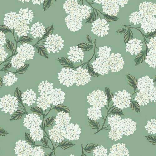 Papel pintado estilo flores en blanco sobre fondo color verde Hydrangea RI5145