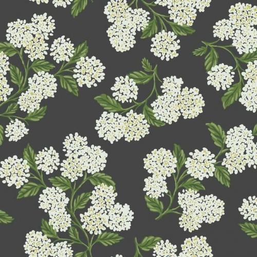 Papel pintado estilo flores en blanco sobre fondo negro Hydrangea RI5146